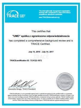 Trace certificate